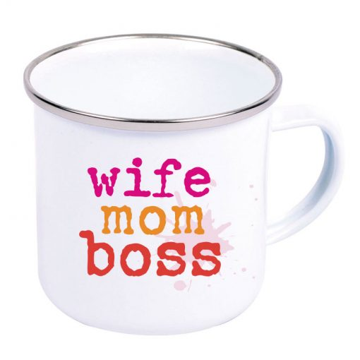 Mom Wife Boss Emaille-Becher